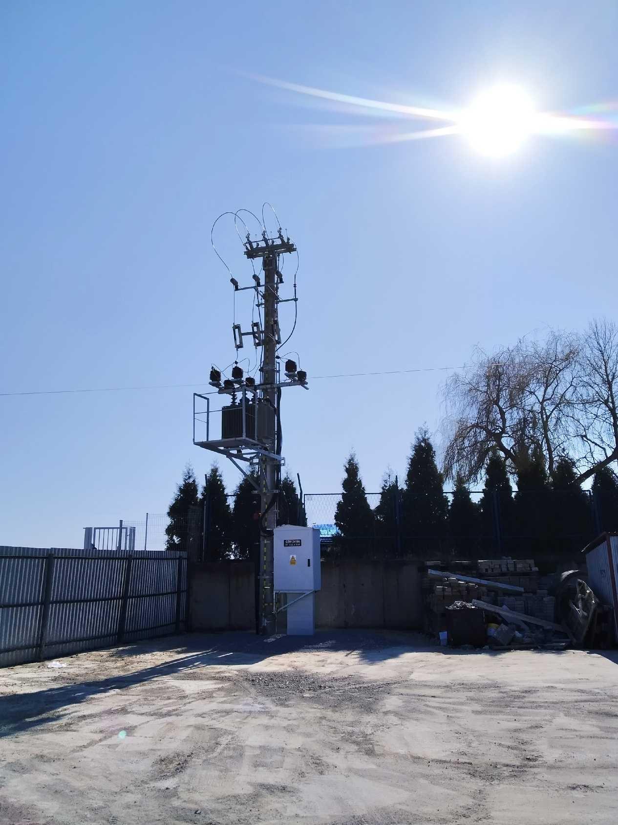 Efekt końcowy prac - słupowa stacja transformatorowa